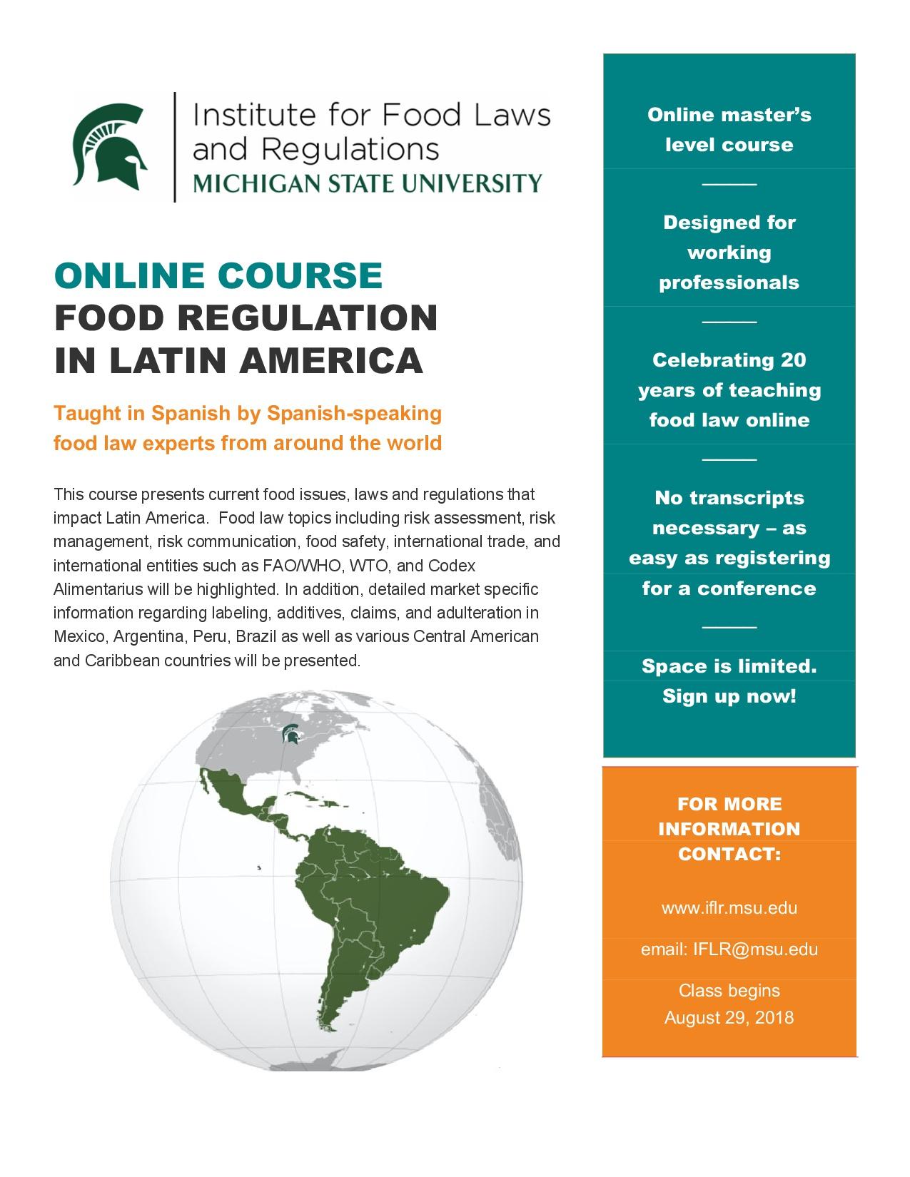 MSU – Food Regulation in Latin America 2019 enrollment – FOOD LAW LATEST